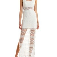 Ivory Mixed Lace Cut-Out Maxi Dress by Charlotte Russe
