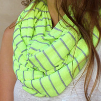Striped Infinity Scarf, Neon Accessory, Neon Circle Scarf, Eternity Scarf