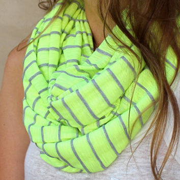 Striped Infinity Scarf Neon Accessory Neon Circle by PoePoePurses