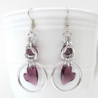 Amethyst heart crystal chainmaille earrings