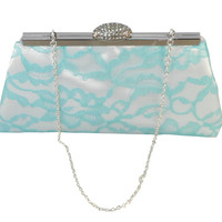 White, Aqua Blue Lace and Blush Pink Bridal Clutch