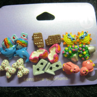7  pack  multi colored birds Dolphins stud earrings trendy fashion summer time