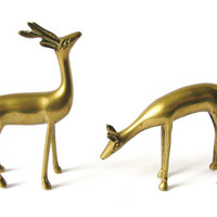 Vintage Deer Figurines, Solid Brass Reindeer Statues, Woodland Animals Figures, Pair