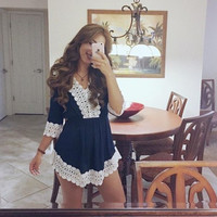 Fringed lace sleeve dress