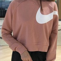 Nike Long Sleeve Cropped Sweatshirt In Pink