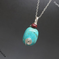 Sterling Silver Wrapped Turquoise Nugget Necklace