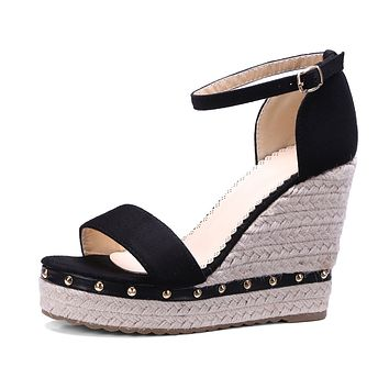 Women's Buckle Belt Openwork Wedges Sandals