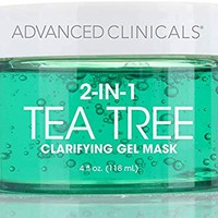 Advanced Clinicals Tea Tree Oil Mask. 2-in-1 overnight sleep mask w/Tea Tree Oil, Witch Hazel & Grapefruit Extract for dry skin, T-zone oil control, clogged pores, congested skin 4 fl oz (4oz)