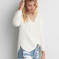 AEO Lace-Up Sweater, Brown
