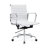 Togo Mid Back White Leather Office Chair