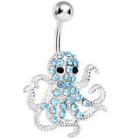 Blue Gem Encrusted Floating Octopus Belly Button Ring | Body Candy Body Jewelry
