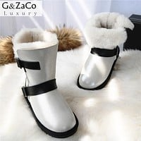 G&Zaco Luxury Winter Sheeoskin Fur Boots Natural Wool Knight Boots Sheep Fur Women Genuine Leather Female Mid Calf Buckle Boots