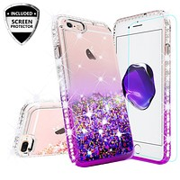 Apple iPhone 7 Plus Case Liquid Glitter Phone Case Waterfall Floating Quicksand Bling Sparkle Cute Protective Girls Women Cover for iPhone 7 Plus - Purple