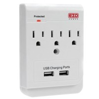EZOPower 3 AC Outlet Wall Mount Plate Surge Charge Protector with 2 USB Charger Ports 2.1A
