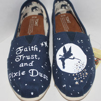 Custom Hand-Painted Disney Tinkerbell TOMS