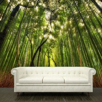 """Wall sticker bamboo forest green trees path way mural 108x126""""/3.2x2.7"""