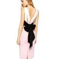 White and Pink Sleeveless Dress with Bow Tie