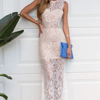 White Sheer Lace Overlay Maxi Dress