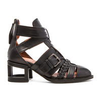 Jeffrey Campbell x REVOLVE Level Up Bootie in Black & Black Patent