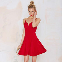 Spaghetti Strap Sheath A-Line Mini Skater Dress