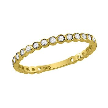10k Yellow Gold Round Diamond Bezel Set Stackable Band 1/5 Cttw