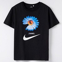 NIke & PEACEMINUSONE New fashion letter hook floral print couple top t-shirt Black