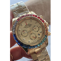 ROLEX Tide brand diamond mechanical watch color diamond men and women waterproof quartz watch #3