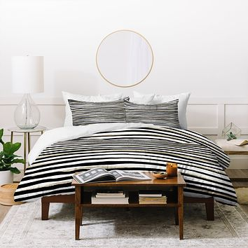 Georgiana Paraschiv Black and Gold Stripes Duvet Cover