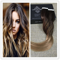 Full Shine 100 Real Human Hair Balayage Color 2#6#18 Tape Extensions Remy Human Hair 50g Per Pack Human Skin Weft Extensions