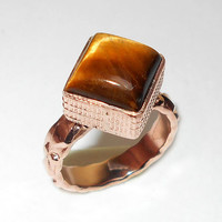 Tiger Eye Ring - Handmade Ring - Natural Stone Ring - Bezel Set Ring - Rose Gold Ring - Cocktail Ring - Fashion Ring - Square Stone Ring