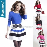 Benana New spring 2014 Long Sleeve Dresses Women casual dress Slim Sexy women clothing winter patchwork sweater vintage dress BB 8528 - DinoDirect.com