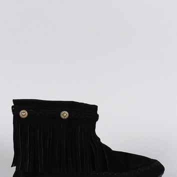 Suede Button Braided Fringe Round Toe Booties