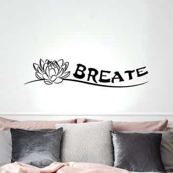 Vinyl Wall Decal Indian Yoga Breathe Buddha Meditation Room Stickers Mural 35 in x 8 in gz258