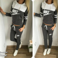 NIKE Sport suit color matching stitching letters printing hooded fashion suits Grey