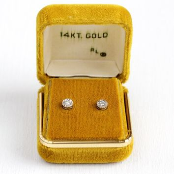 Genuine Diamond Earrings - Retro 14k White Gold Post Pierced Push Back Studs - 1970s Vintage Original Box Fine Billmyer's Jewelers Jewelry