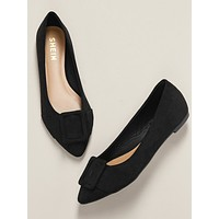 Pointy Toe Belted Detail Slide On Slipper Flats
