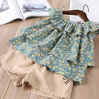 baby Girl clothes Children Summer Clothing tutu fly sleeve shirt+shorts Kids sets Clothes Casual suits