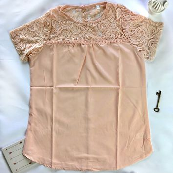 Pastel Pink Lace Yoke Top