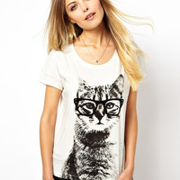 White Cat with Glass Print T-Shirt