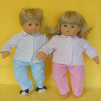 15 inch Doll Clothes American Girl Bitty Twin - Polka Dot PJ Set