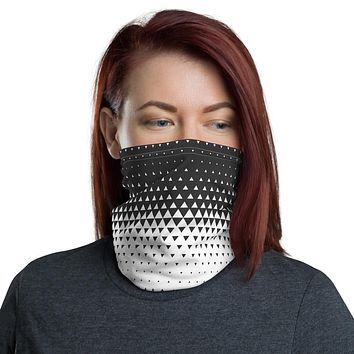 Triangle Gradient Patterned White and Grey Neck Gaiter