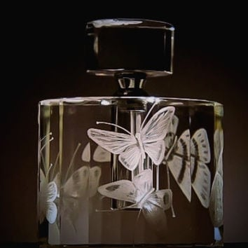 Crystal Perfume bottle hand engraved with butterflies