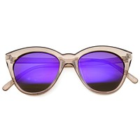 Cute Women's Translucent Crystal Frame Mirror Lens Sunglasses 9839