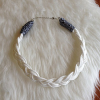 Chunky Braided Cord Statement Necklace - Handmade, White, Para-cord, Paracord, Braided, Fashion, Statement, Unique, Silver Tone, Trendy