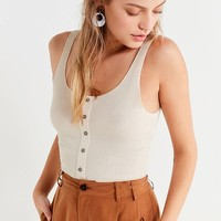 Project Social T Ribbed Knit Button-Down Tank Top | Urban Outfitters