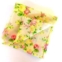 Creamy White Pocket Square with Neon Pink and Yellow Flowers, Mens Pocket Square, Wedding Pocket Square, Handkerchief