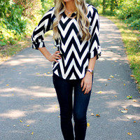 Can You Zig It Blouse - Black - Restocked