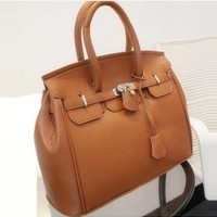Preppy Style Hasp Pattern PU Brown Dual-Use Satchel Bags   martofchina.com-Page Cached