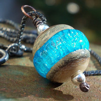 Boulder Opal Glass Necklace handmade artist by karmelidesigns