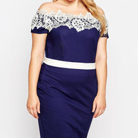Plus Size Contrast Lace Off-Shoulder Pencil Dress